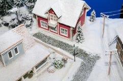 neige couverte de maison Photographie stock