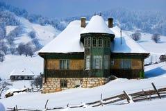 neige couverte de maison Images libres de droits
