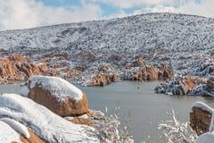 Neige d'hiver au lac watson Photographie stock