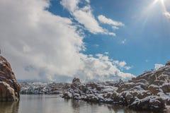 Neige d'hiver au lac watson Photographie stock libre de droits