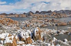 Neige d'hiver au lac watson Photos stock