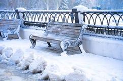 Neige d'hiver, boutique dans la neige Images libres de droits