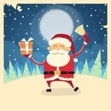 Neige d'hiver de boîte de Santa Claus Hold Bell Present Gift Photos libres de droits