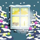 Neige d'hiver paysage plat de froid d'arbre de Noël de vecteur de paysage de nature de quatre saisons illustration libre de droits