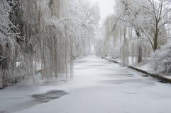 Neige d'hiver sur le canal Photographie stock libre de droits