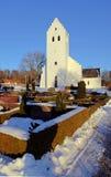 Neige Danemark de l'hiver d'église Images libres de droits