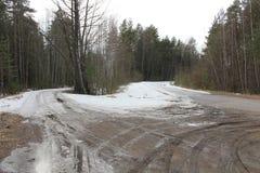 Neige dans la route Photo libre de droits