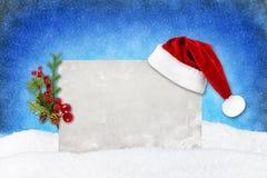 Neige de bleu de carte de Noël Photos stock