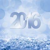 neige de 2016 bleus et carte de voeux de bokeh Photos libres de droits
