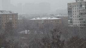 Neige de Moscou, hiver, Russie, foncée clips vidéos