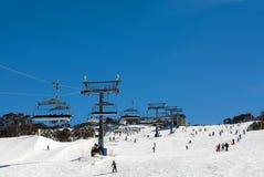 neige de skieurs Photographie stock