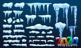 Neige de 2020 vecteurs, calotte glaciaire avec l'ombre Chutes de neige et flocons de neige Saison de l'hiver Fond pour une carte  illustration libre de droits