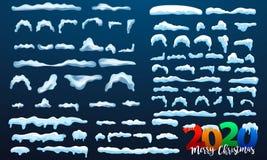 Neige de 2020 vecteurs, calotte glaciaire avec l'ombre Chutes de neige et flocons de neige Saison de l'hiver Fond pour une carte  illustration de vecteur