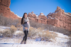 Neige enceinte Images libres de droits