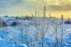 Neige et ciel bleu avec les nuages et le bâton Photographie stock libre de droits