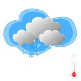 Neige et pluie avec le thermomètre Photos libres de droits