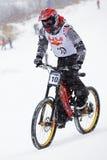 neige extrême faisante du vélo de montagne Photo libre de droits