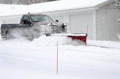 neige labourant le travail Photo stock