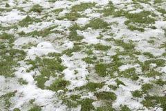 Neige partiellement dégelée sur l'herbe Photos libres de droits