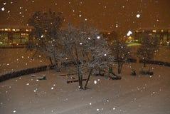 Neige pendant la nuit Photographie stock