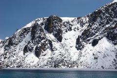 neige rocheuse couverte de rivage de lac de l'Himalaya Photos stock