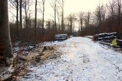 Neige sale après la notation photographie stock