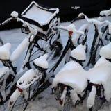 Neige sur des bicyclettes Image libre de droits
