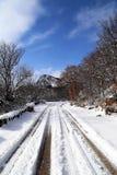 Neige sur la route Photos libres de droits