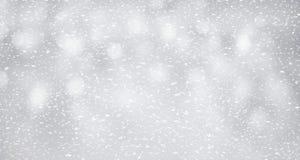 Neige sur le fond argenté Concept d'hiver et de Noël photo stock