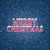 Neige sur le Joyeux Noël de lettres Photo stock