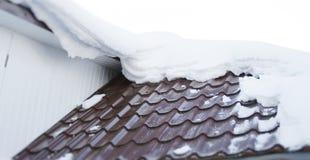 Neige sur le toit photo stock