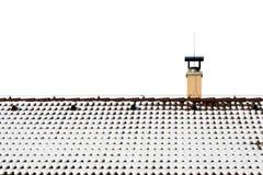 Neige sur le toit d'une maison photographie stock