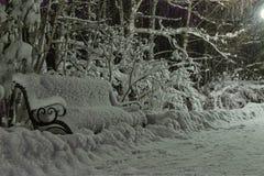 Neige sur un banc en parc de nuit photos libres de droits