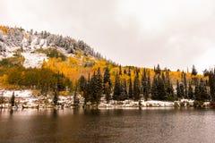 Neige tôt d'automne dans le Wasatch à Silver Lake photo stock