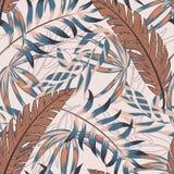 Neigen des hellen nahtlosen Musters mit bunten tropischen Blättern und Anlagen auf beige Hintergrund ENV 10 Dschungeldruck floral stock abbildung
