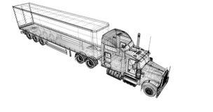 Neigender Lastwagen Stockfoto