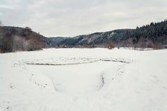 Neigez sur le terrain de golf en hiver, fond de forêt, l'espace de copie Image libre de droits