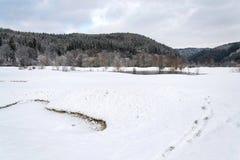 Neigez sur le terrain de golf en hiver, fond de forêt, l'espace de copie Photo stock