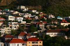 Neighborhood. A view of a classic neighborhood in Cape Town. Picture taken right before sunset Stock Photos