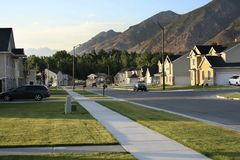 The neighborhood. A proto-typical middle-american neighborhood in the western United States Stock Photos