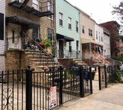 Neighborhood. Brooklyn Neighborhood perfect sunny day Stock Image