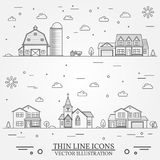 Neighborhood with buildings illustrated on white Royalty Free Stock Photography