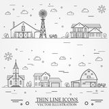 Neighborhood with buildings illustrated on white. Vector thin line icon suburban american houses, church and farm. For web design and application interface Royalty Free Stock Photos