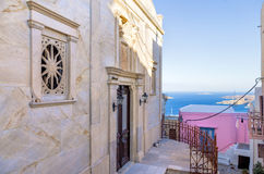 Neighborhood with a Catholic church in Ermpoupolis, Syros island, Cyclades, Greece Royalty Free Stock Photography