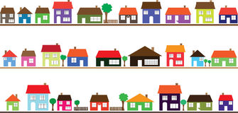 Neighborhood with colorful homes Stock Images