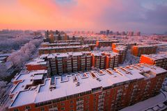 Free Neighborhood Community Snow And Sunrise Stock Images - 105826024