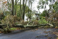 Neighborhood destroyed by Hurricane Super Storm Sandy stock photo