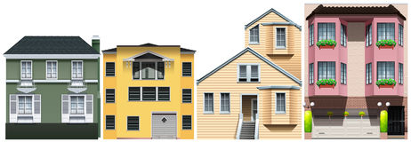 Neighborhood with different styles of houses. Illustration Royalty Free Stock Photo