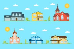 Neighborhood with homes and churches illustrated on the blue background. Stock Photography