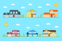 Neighborhood with homes illustrated on the blue background. Vector flat icon suburban american houses day, night. For web design and application interface Royalty Free Stock Photo